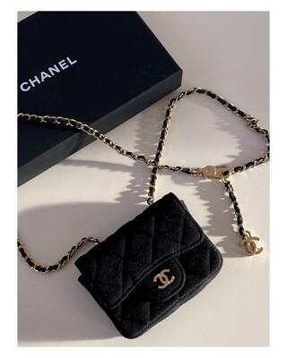 CHANEL CC BLACK MINI FLAP MICRO BELT BAG WITH CHAIN - 2021