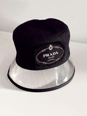 PRADA LOGO COTTON / VINYL BUCKET HAT WITH TAGS AND BOX!