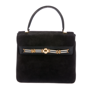 GUCCI VINTAGE BLACK SUEDE LEATHER KELLY BAG WITH ENAMEL BUCKLE DETAIL - LARGE SIZE!