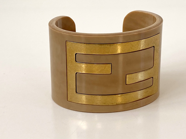 RARE Vintage 90's FENDI ZUCCA Logo Layered Gold Natural Beige Resin Cuff Bangle Bracelet S / M