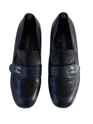 CHANEL CC SILVER TURNLOCK NAVY BLACK LEATHER LOAFERS IT 38.5