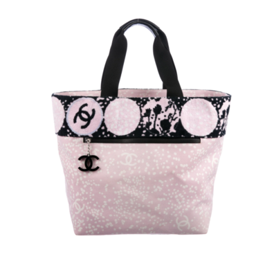 CHANEL LARGE PINK BLACK TERRY CLOTH CC LOGO BEACH SPORT TOTE