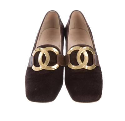 CHANEL VINTAGE HUGE CC BROWN PONY HAIR LOAFERS