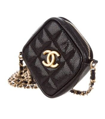 CHANEL CC BLACK CAVIAR QUILTED LEATHER MINI CROSSBODY GOLD CHAIN BAG