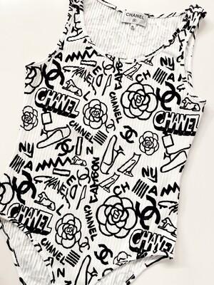 CHANEL CC GRAFFITI PRINT BLACK WHITE RIBBED BODYSUIT FR 36 / US 4