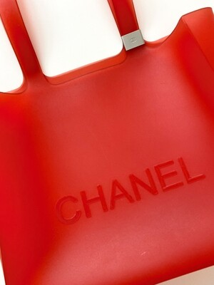 VINTAGE CHANEL LETTER RED JELLY RUBBER TOTE BAG