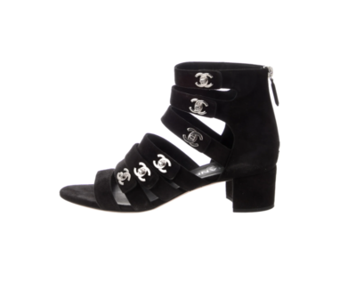 CHANEL CC TURNLOCK BLACK SUEDE SANDALS IT 39 / US 8 - 8.5
