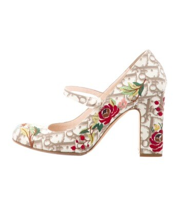 CHRISTIAN DIOR VINTAGE MONOGRAM LOGO FLORAL EMBROIDERED MARY JANES IT 39 / 8 - 8.5