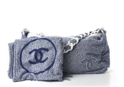 CHANEL CC TERRY CLOTH LARGE BEACH BAG TOTE WITH MATCHING TOWEL
