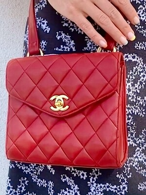 CHANEL CC FLAP RED QUILTED LEATHER CROSSBODY SHOULDER BAG