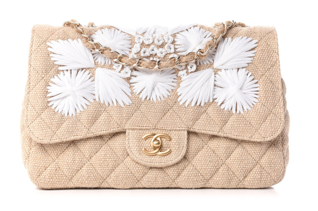 CHANEL CC TURNLOCK RAFFIA STRAW FLORAL EMBROIDERED JUMBO FLAP BAG