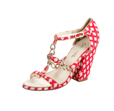 CHANEL CC CHAIN LINK RED WHITE FABRIC BLOCK HEELS IT 38