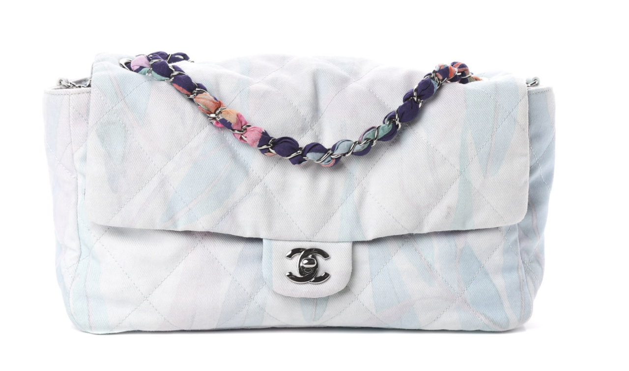CHANEL CC PRINTED PASTEL FABRIC QUILTED JUMBO FLAP SHOULDER BAG