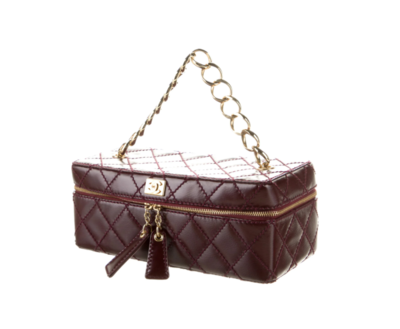 CHANEL VINTAGE BURGUNDY QUILTED LEATHER GOLD CHAIN HANDLE VANITY BAG