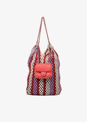 CHANEL LARGE WOVEN TOTE WITH LEATHER MINI FLAP CC BAG