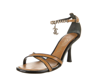 CHANEL CC CRYSTAL ANKLE STRAP HEELS IT 39