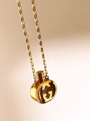 Vintage 90's GUCCI GG Monogram Enamel Brown Gold Perfume Parfum Bottle Gold Charm Pendant Necklace Jewelry