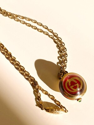 GUCCI VINTAGE GG WATCH PENDANT GREEN RED ENAMEL WITH GOLD CHAIN