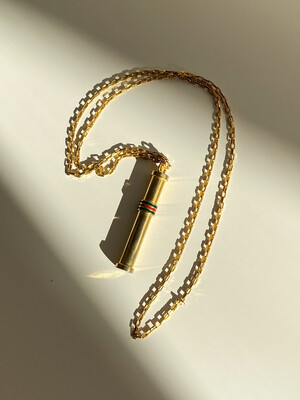 Vintage 90's GUCCI Enamel Red Green Perfume Parfum Bottle Gold Charm Pendant Necklace Jewelry