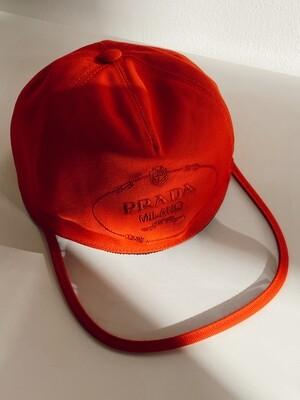 PRADA LOGO RED CANVAS BASEBALL CAP HAT