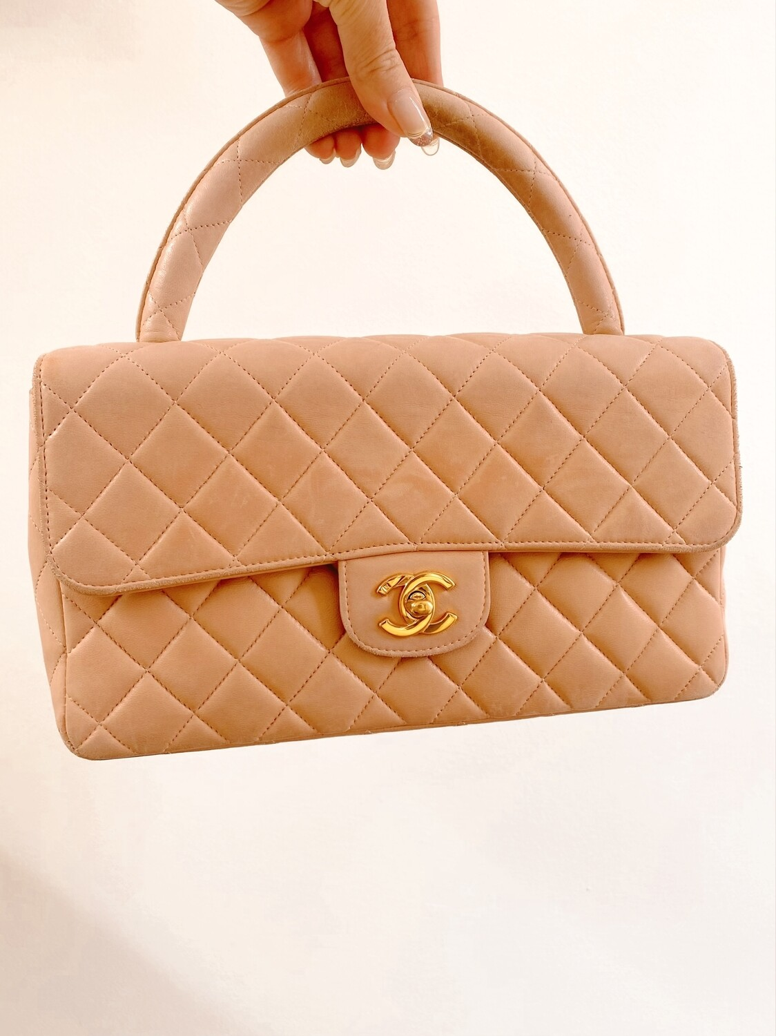 CHANEL TOP HANDLE PEACH METALASSE QUILTED LEATHER TOP HANDLE FLAP BAG