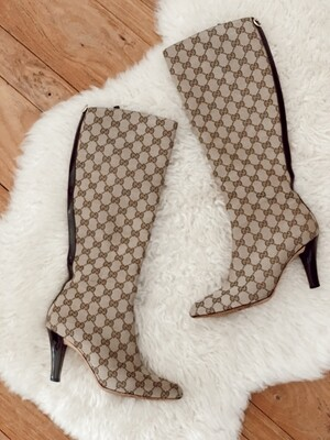 GUCCI GG MONOGRAM OTK TALL CANVAS LEATHER BOOTS IT 38