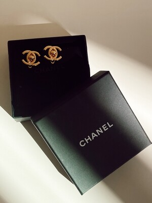 CHANEL VINTAGE 1996 GOLD CC TURNLOCK CLIP ON EARRINGS