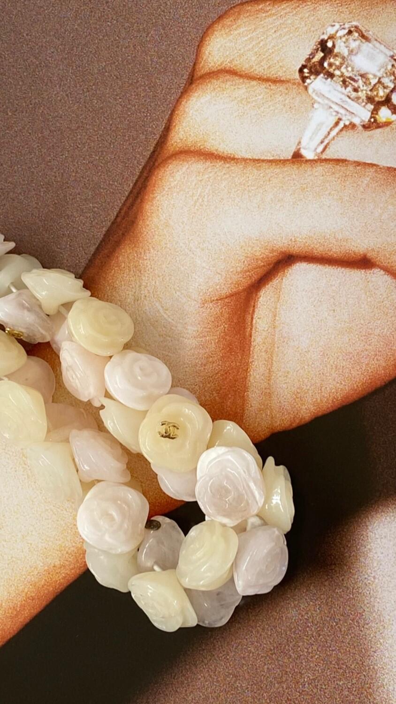 CHANEL VINTAGE CC LOGO FLORAL CAMELLIA FLOWER BEAD BRACELET