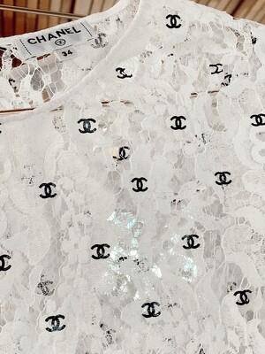 CHANEL CC PRINT WHITE LACE BLOUSE TOP FR 34