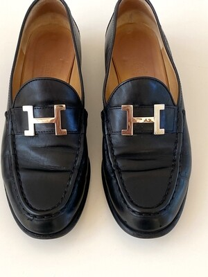 HERMES H LOGO SILVER BLACK LEATHER LOAFERS IT 38.5 / US 8 - 8.5