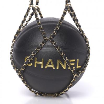 CHANEL CC LOGO BLACK BASKETBALL WITH CHAIN NET BAG