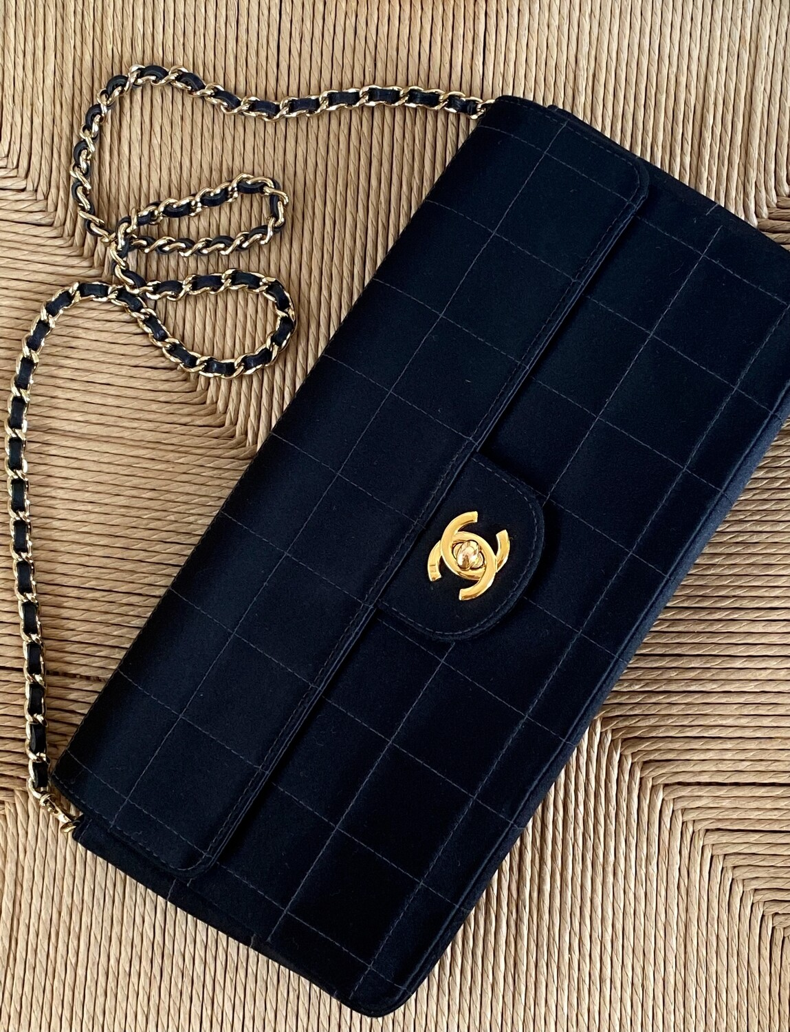 CHANEL QUILTED BLACK SATIN CC TURNLOCK CLASSIC FLAP BAG