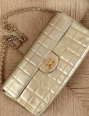 CHANEL CC TURNLOCK GOLD QUILTED EAST WEST CLASSIC FLAP BAG