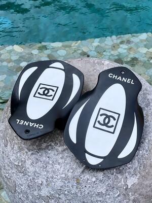 CHANEL VINTAGE CC SPORT SWIM PADDLES BLACK WHITE