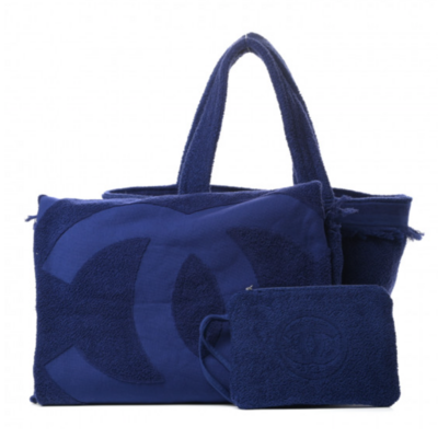 CHANEL CC TERRY CLOTH NAVY BEACH TOTE WITH LOGO TOWEL AND POUCH
