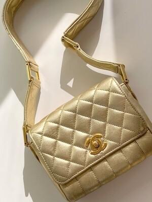 VINTAGE CHANEL CC GOLD MINI CAMERA FLAP SHOULDER BAG