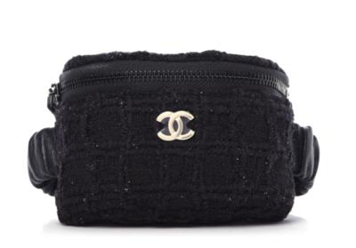 CHANEL CC LOGO TWEED BLACK ARM WRIST BAG POUCH