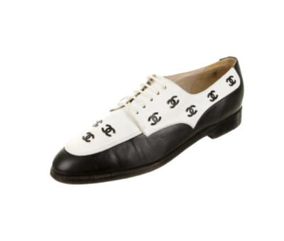 CHANEL CC VINTAGE LACE UP LOAFERS OXFORDS IT 40