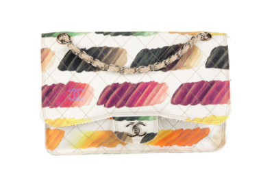 CHANEL CC WATERCOLOR COLORAMA RAINBOW QUILTED PRINT CLASSIC JUMBO DOUBLE CHAIN FLAP BAG