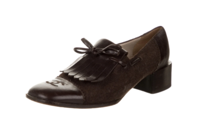 CHANEL CC LOGO SUEDE BROWN / LEATHER OXFORDS IT 38