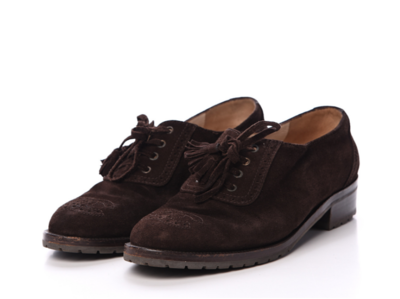 CHANEL CC LOGO SUEDE BROWN LEATHER OXFORDS LOAFERS IT 38