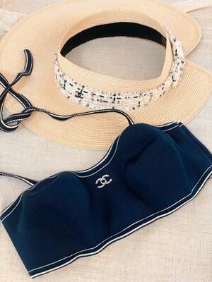 CHANEL CC LOGO STRAW AND TWEED SUN  BEACH HAT
