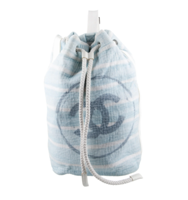 CHANEL LARGE CC TERRY CLOTH BACKPACK TOTE BEACH BAG