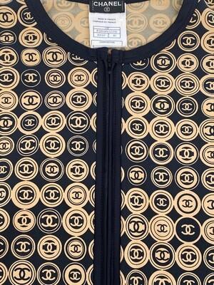 CHANEL CC MEDALLION COIN PRINT TOP JACKET FR 40