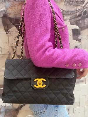 CHANEL CC BLACK LOGO LETTER PRINT VINTAGE JUMBO FLAP CHAIN SHOULDER BAG