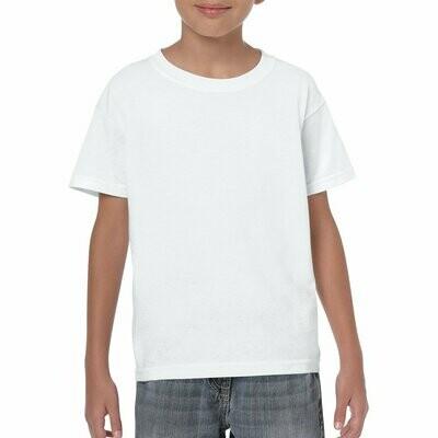 White Gildan Youth 100% Cotton Heavy T