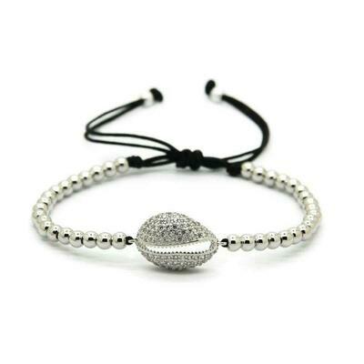Shell Macrame Silver Bracelet 4mm