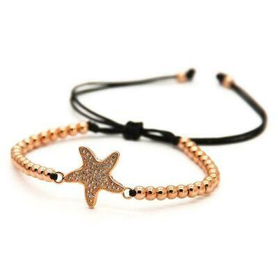Star Fish Macrame Rose Bracelet 4mm