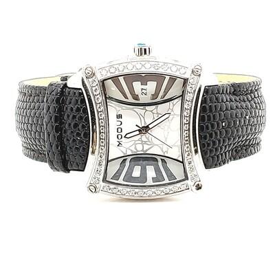 Modus Black Strap Watch with CZ