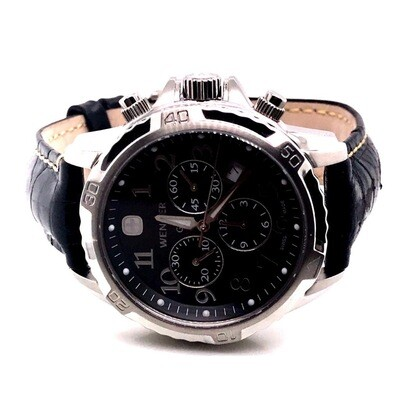 Wenger Black Leather Strap Watch